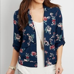 🌹Navy and Pink Floral Linen Jacket
